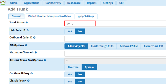 Configure SIP trunk on FreePBX