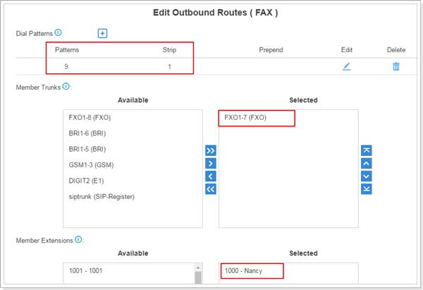 Edit Outbound Route For Sending Fax from S-Series VoIP PBX